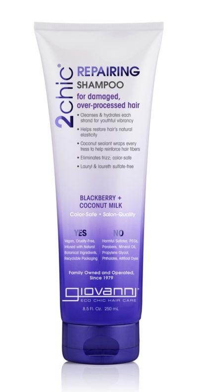 a bottle of Giovanni hair repair shampoo